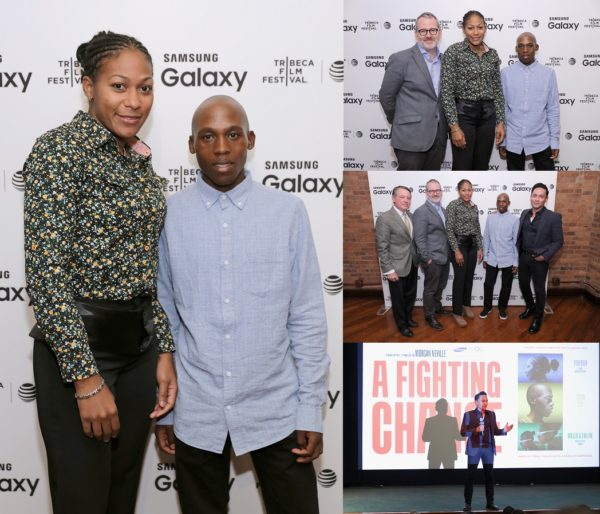 "NEW YORK, NY - APRIL 20: Olympic Games hopefuls Yenebier Guillen Benitez and Tsepo Mathibelle attend the official global premiere of ""A Fighting Chance"", a documentary short filmed in partnership with Worldwide Olympic Partner Samsung ahead of the Rio 2016 Olympic Games, during the Tribeca Film Festival at Tribeca Film Center on April 20, 2016 in New York City. (Photo by Neilson Barnard/Getty Images for Samsung) *** Local Caption *** Yenebier Guillen Benitez;Tsepo Mathibelle"